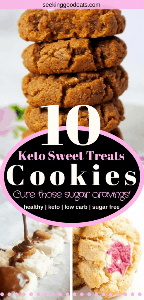 10 delicious and easy low carb and keto cookie recipes that are perfect whether you're on a low carb diet, are looking for sugar free dessert recipes or follow a ketogenic diet. These easy keto cookies include healthy recipes with chocolate chip, cream cheese, coconut, shortbread, snickerdoodles, peanut butter, and more! #cookies #keto #ketodiet #ketogenic #ketorecipes #lowcarb #lchf #healthyrecipes #sugarfree