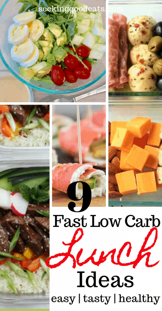Busy day ahead? Make sure you pack a low carb healthy lunch! Here are 9 quick and easy, make ahead, low carb and keto lunches you can make in no time! These are my go-to healthy lunch recipes every day. Finding time to make a healthy meal in the morning while trying to get out the door in the morning is hard, but not with these healthy lunches you can make in a hurry or meal prep ahead of time! Check them out! #lunch#healthyrecipes #healthyfood #lowcarb#lchf #keto #ketodiet #ketogenic#ketorecipes #salad #mealprep