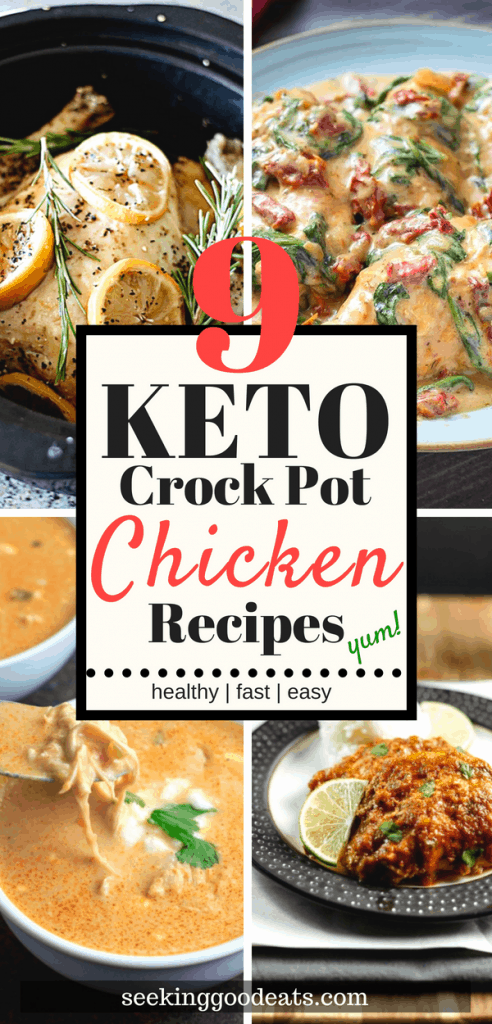 9 delicious keto slow cooker chicken recipes that's perfect for your next healthy meal.  These keto crock pot recipes make a quick and easy low carb or keto dinner recipe when you need a healthy weeknight dinner idea. Quick healthy crock pot recipe your whole family will love.