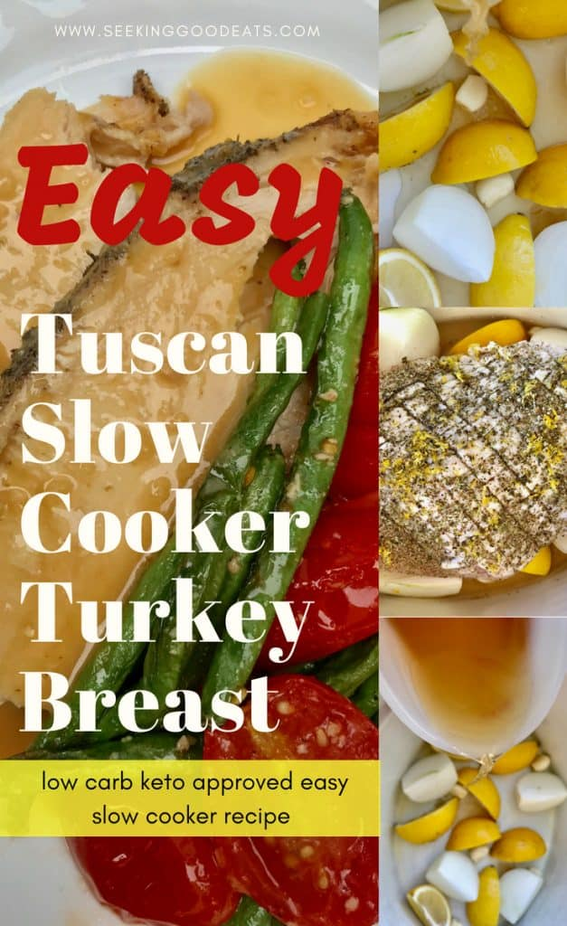 So easy Tuscan Slow Cooker Turkey Breast. Extra juicy, low carb keto turkey