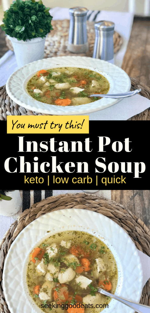 Tackle that crazy evening with a quick and easy instant pot low carb dinner that everyone in your family will love! With your instant pot you can make your low carb and keto chicken soup in no time! Finding time to make a healthy meal at night is hard I know, but not with this healthy keto soup! Check it out!