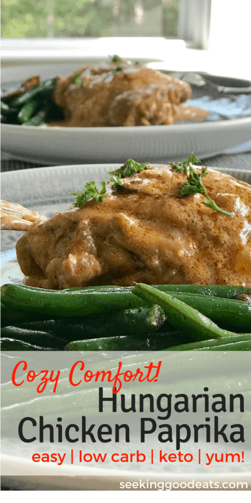 Try something new! Simple one-dish cozy comfort traditional Hungarian chicken paprika. Healthy dinner perfect for a weeknight dinner or company. Low carb and keto friendly. Try this international dish that's so popular!