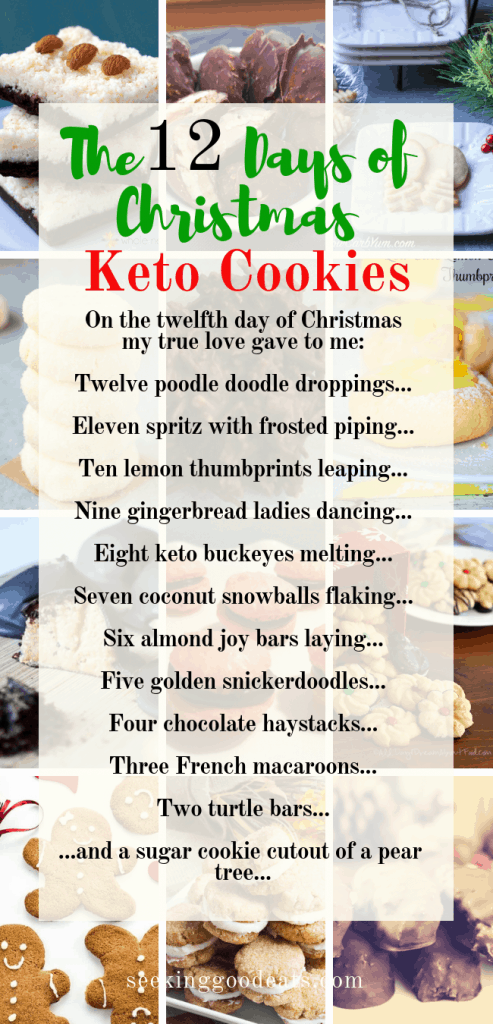 Twelve festive Keto Christmas Cookies ready for you to bake along with your favorite Christmas song – The 12 Days of Christmas. Add these low carb cookie recipes and keto cookies to your traditional holiday recipe must make list! Wouldn't it be nice to be able to eat cookies and not feel guilty? You can with these healthy cookies that are sugar free, gluten free, low carb, and keto. Happy Holidays!