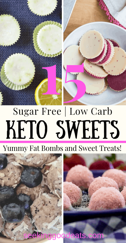 Healthy sweets that taste great? Yes! Perfect keto fat bombs and low carb sweets to help curb your sugar cravings. These healthy recipes are perfect to eat when you want that sweet treat, or just to give to someone special. These keto recipes are also sugar free making them great for someone watching their sugar intake. #keto #lowcarb #sugarfree #candy #ketogenic #lchf #sweets #healthyrecipes #ketorecipes #sugarfreerecipes #dessert #seekinggoodeats #fatbombs #ketocandy