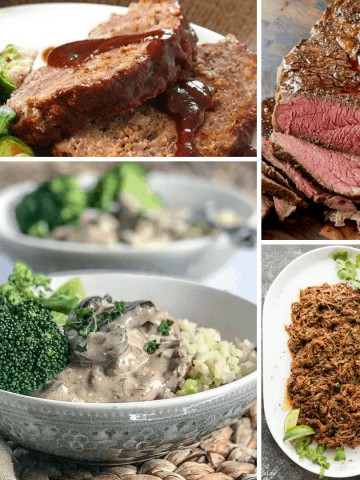 Quick Low Carb and Keto Slow Cooker Beef Recipes. These super simple tasty recipes make busy weeknights a breeze. Healthy recipes in a crock pot that you'll never know are ketogenic. #keto #ketorecipes #ketodiet #lowcarb #lowcarbrecipes #lchf #slowcooker #crockpot #beef #healthyrecipes #dinner