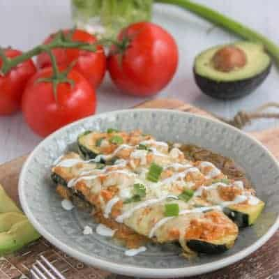 Low Carb Chicken Enchiladas (Keto Zucchini Enchilada Boats)