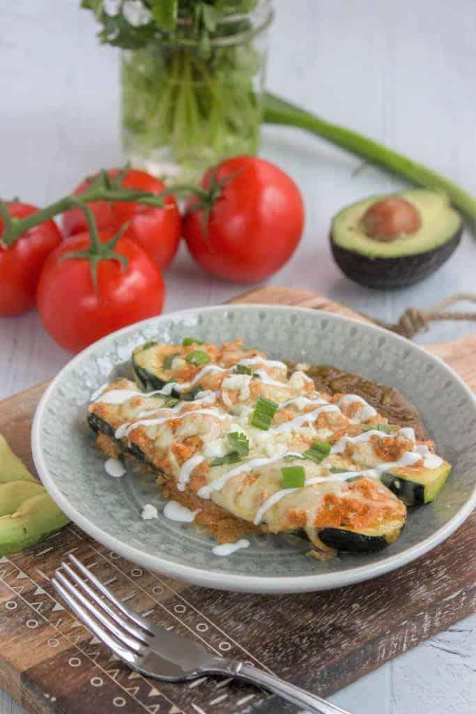 Low Carb Chicken Enchiladas Keto Zucchini Enchilada Boats