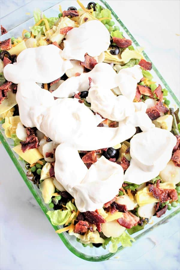 Layered Salad (Layered Overnight Salad with Mayonnaise Recipe)