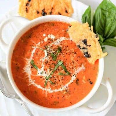 Easy Tomato and Basil Soup (Instant Pot and Slow Cooker Soup)