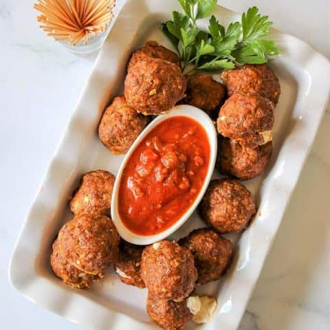 Cheese Stuffed Baked Meatball Recipe (Keto Meatballs)