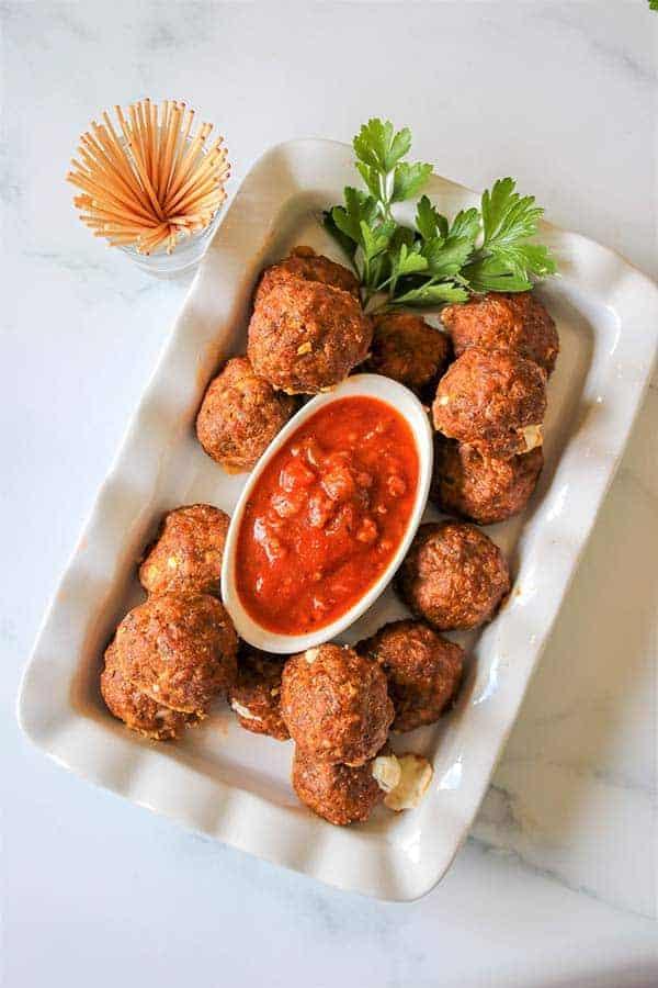 Cheese Stuffed Baked Meatballs, Seeking Good Eats