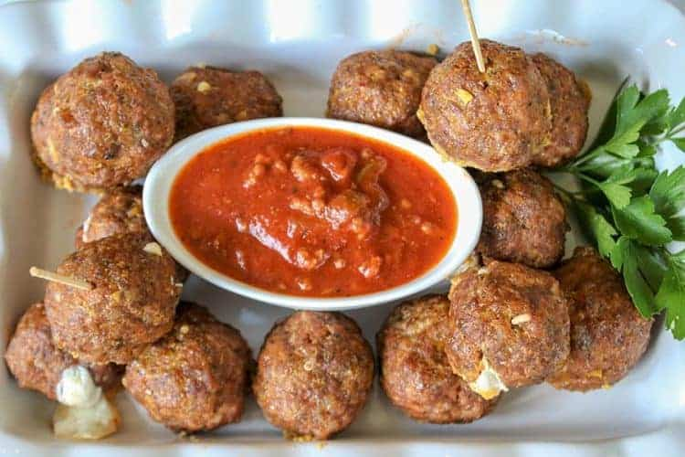 Cheese Stuffed Baked Meatball Recipe (Keto Meatballs)