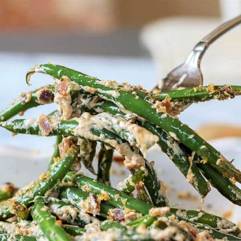 Green Bean Casserole with Cheese And Bacon