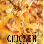 Pinterest image of Chicken Fajita Bake hot out of the oven and in its skillet. A fork is serving a cheesy portion.