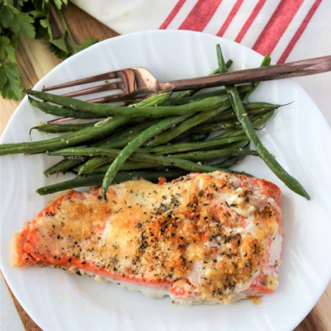 Baked Salmon with Mayo And Parmesan Crust