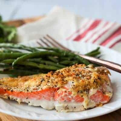 Baked Salmon with Mayo And Parmesan Herb Crust