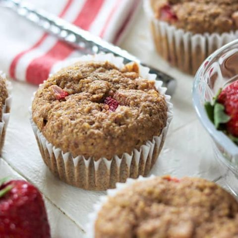 Strawberry Banana Flaxseed Muffins (Low Carb Keto Sugar Free)