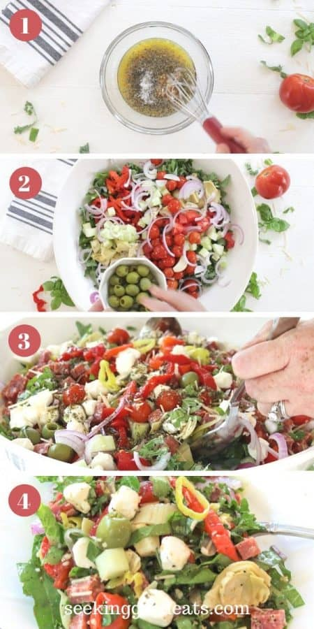 4 step by step mages of a colorful sald in a white bowl demonstrating how make antipasto salad. First step mix dressing. Second step make salad. Third step toss dressing and salad. Fourth step serve.