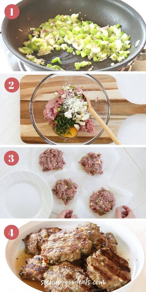 Steps 1-4 for making Greek burger (gyro burger)