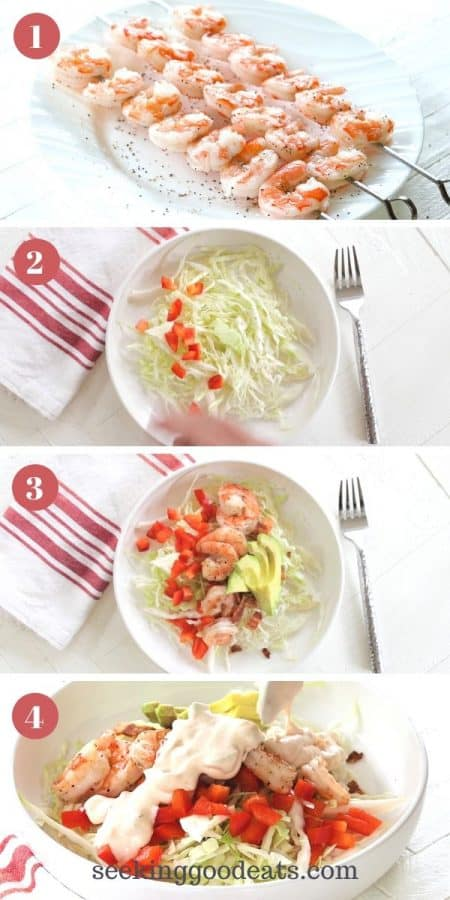 4 step by step images for making grilled shrimp salad recipe. Image 1 shrimp on a skewer. Image 2 cabbage and red bell pepper on a white plate plate. Image 3 cabbage, red bell pepper, bacon, shrimp, avocado on a white plate. Image 4 completed salad, pouring dressing over the top.
