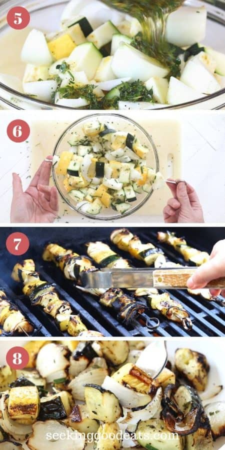 Steps For Threading Skewers and Grilling Herb Marinated Vegetable Skewers