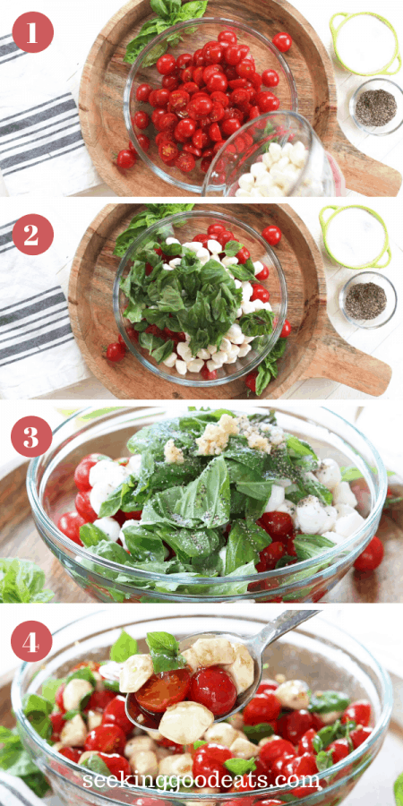 step by step images for making caprese salad