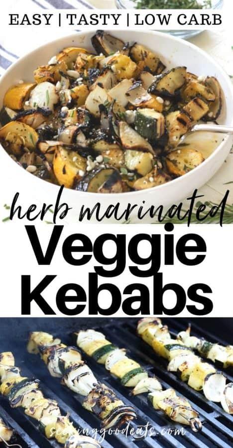 Pinterest pinnable image of herb marinated veggie kebabs