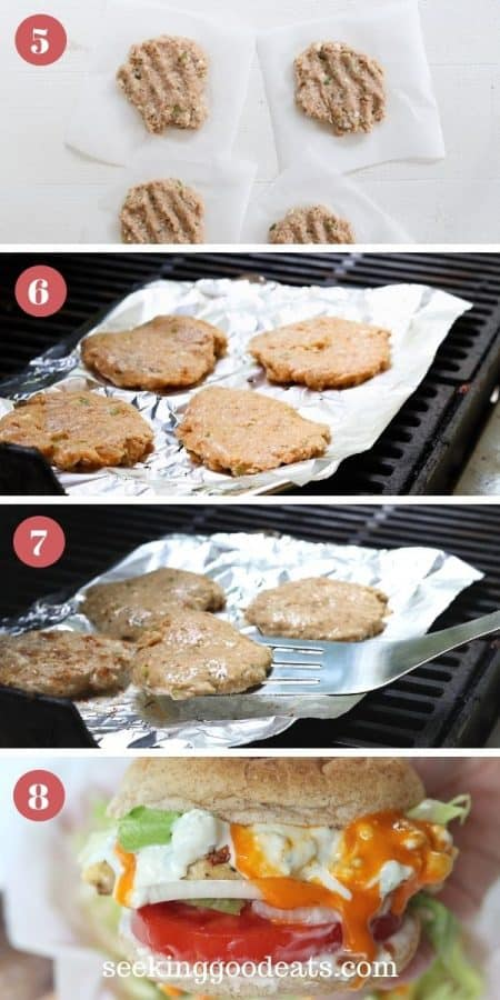 4 part image depicting how to grill buffalo chicken burgers.
