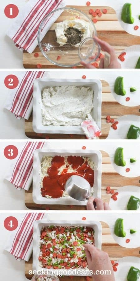 4 part image depicting how to make pizza dip. Full instructions are provided in recipe card.