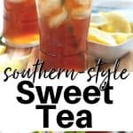 Pinterest pinnable image of full glasses of refreshing sweet tea with a lemon wedge, mint sprig, and colorful blue and white straws.