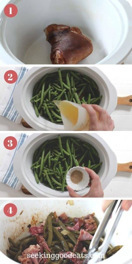 4 part image depicting how to make crockpot green beans. Please see recipe card for insturction on how to make.