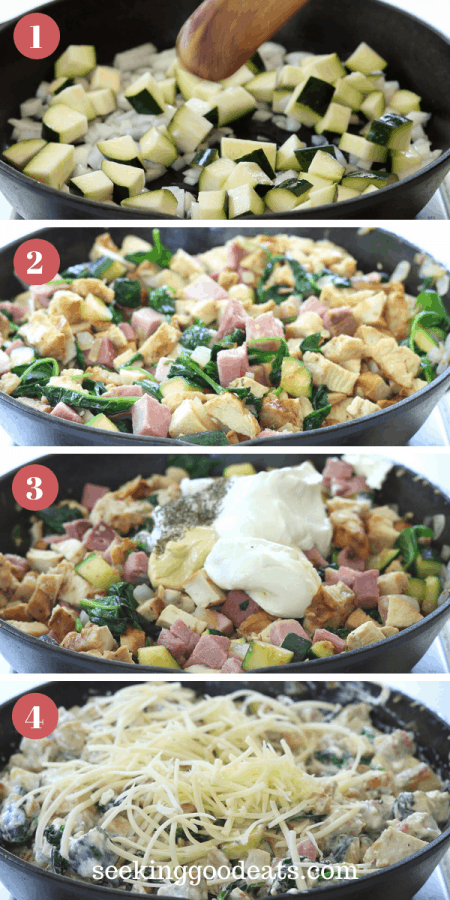 4 part image depicting how to make chicken cordon bleu casserole. Please see recipe card for full instructions. Enjoy!