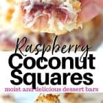 Pinterest pin with a closeup view and an image of coconut squares stacked on a white plate.