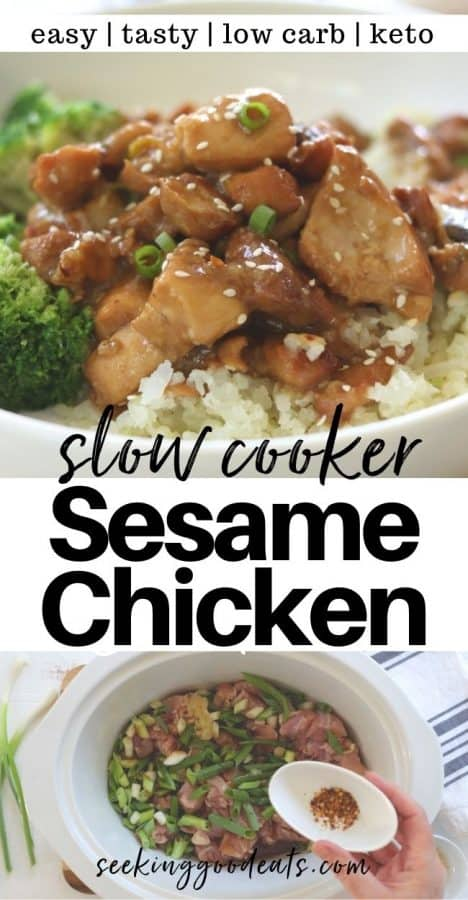 Pinterest pinnable image of slow cooker sesame chicken served in a white bowl with a side of steam broccoli and garnished with green onion and sesame seeds. Second image is uncooked recipe with all ingredients in a white crock pot.