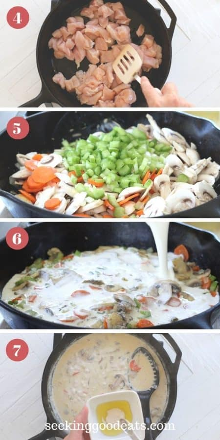 4 part image depicting how to make chicken pot pie filling.