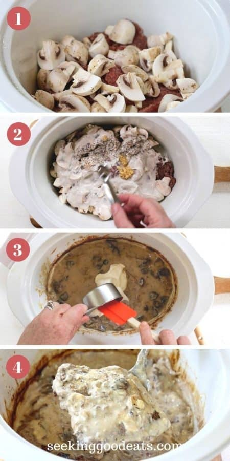 4 part image depicting how to make slow cooker salisbury steak. Please reference recipe card for full instructions. Enjoy!