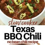 Pinterest pinnable image of completed chili served in a white bowl and an image of uncooked chili ingredients placed in the slow cooker ready for cooking.