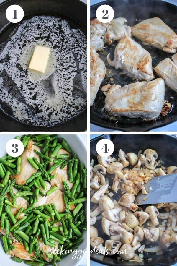 4 part image depicting how to make chicken and apsaragus steps 1 to 4