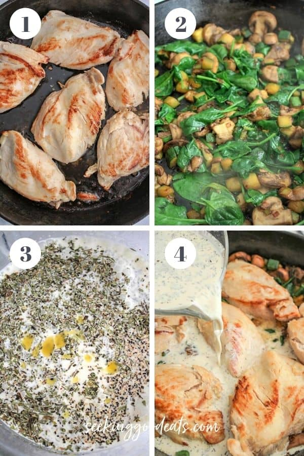 4 part image depicting how to make french country skillet chicken dinner. Please see recipe for full instructions.