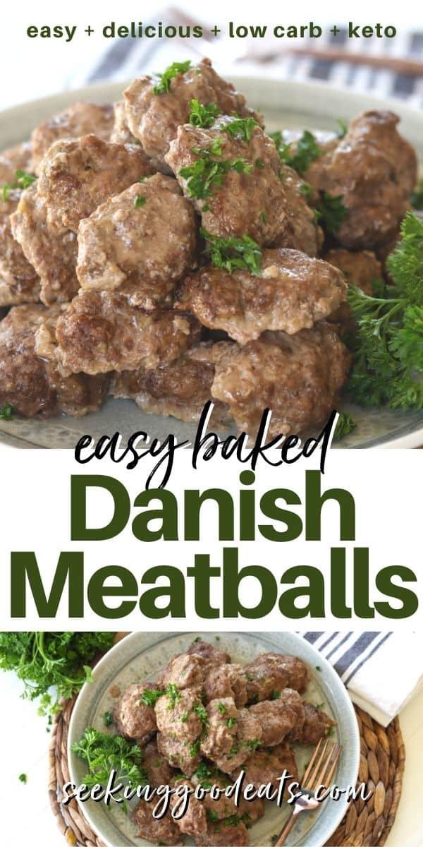 Pinterest pinnable image of frikadella danish meatballs served on a plate.