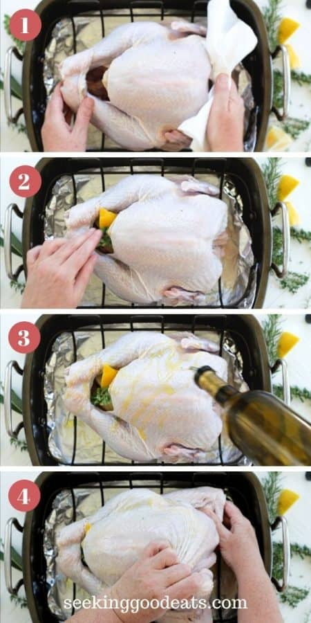 4 part image depicting how to make a juicy roast turkey. Steps 1 to 4 shown. Drying turkey, stuffing with onion & lemon, drizzling olive oil, and folding wings under.See full recipe insturctions
