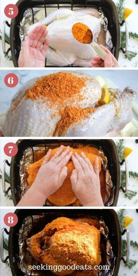 4 part image depicting how to make the perfect turkey. Steps 5 to 8 shown. Overhead of seasonejd coating mix, turkey with coatin sprinkled on top, pressing coating on turkey, and finished baked turkey in a roasting pan .See full recipe insturctions