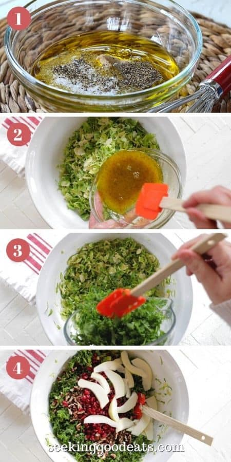 4 part image depicting how to make the salad. Please see recipe card for complete instructions.
