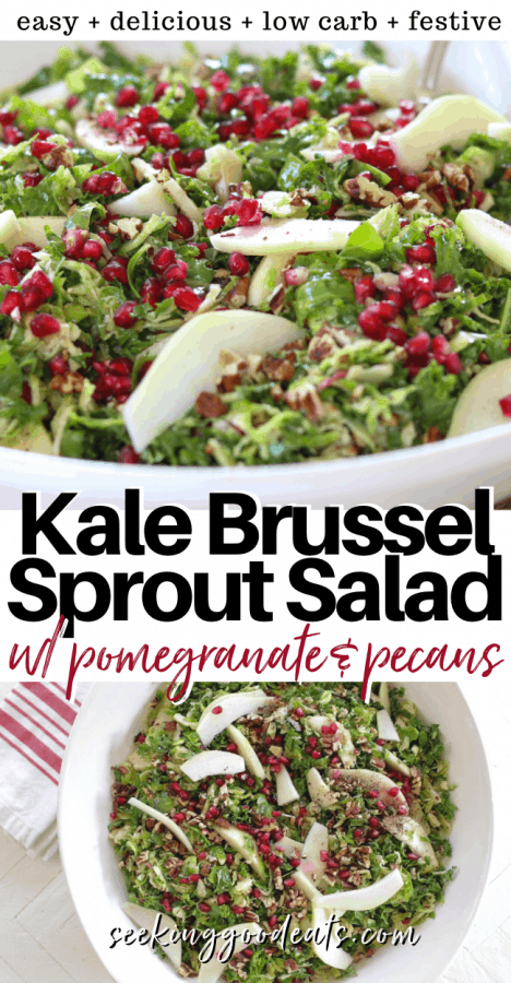 Pinterest pinnable image of kale brussel sprout salad served in a white bowl.