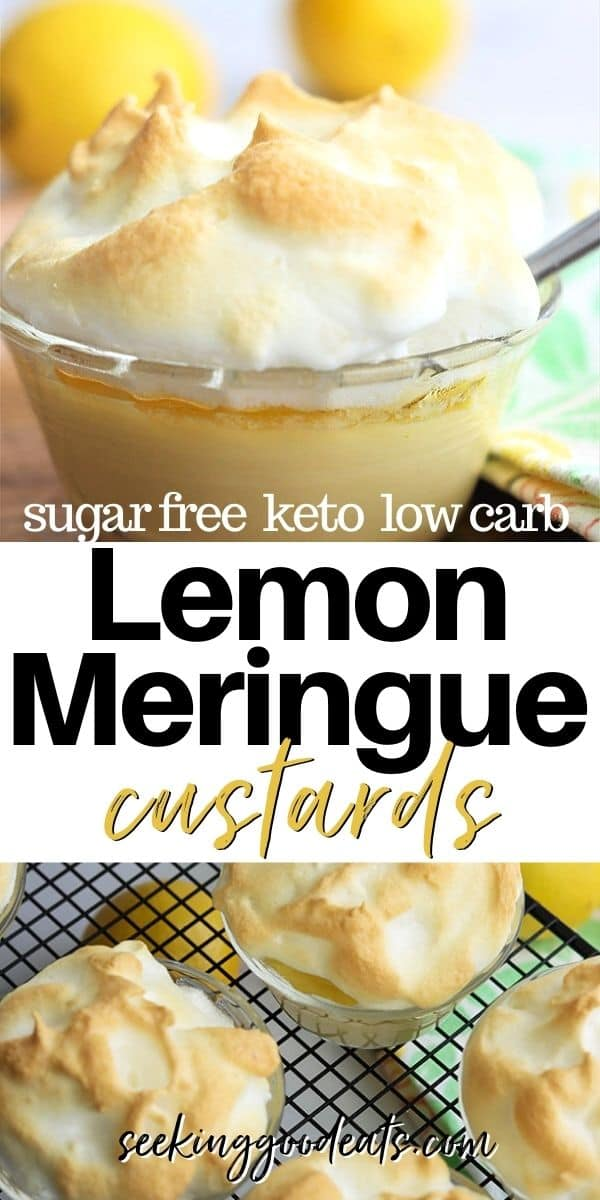 Pinterest pinnable pin with a closeup view of lemon meringue custard and a view looking down on custards cooling on a rack.