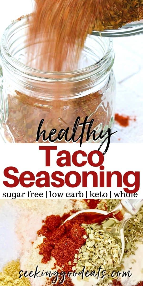 Pinterest pinnable image of healthy homemade taco seasoning mix