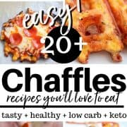 Pinterest pinnable pin featuring five chaffles - pizza, pulled pork, basic, taco, and bratwurst chaffles.