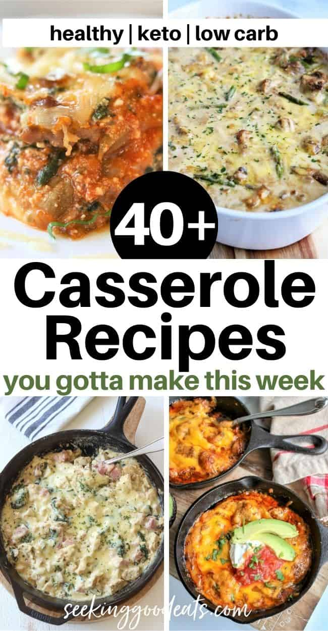 Pinterest pin feature 4 delicious casseroles. Chicken Fajita Bake, Cordon Bleu Casserole, Eggplant Lasagna, and Chicken and Asparagus Bake