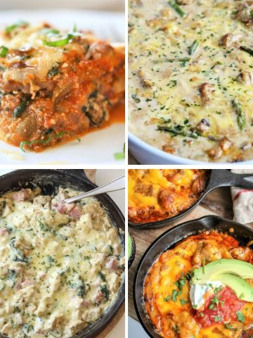 square image featuring 4 casseroles (cordon bleu casserole, eggplant lasagna, chicken and asparagus, and chicken fajita bake)