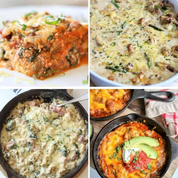 square image featuring 4 casseroles (cordon bleu casserole, eggplant lasagna, chicken and asparagus, and chicken fajita bake)